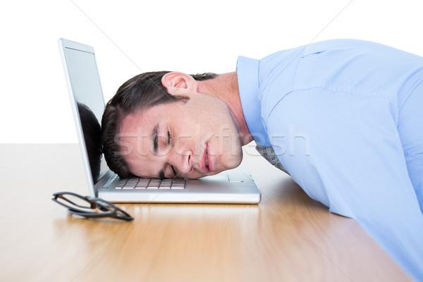 исчерпанный бизнесмен спальный голову ноутбука белый Сток-фото © wavebreak_media