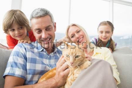 Glimlachend ouders dochter vergadering konijn samen Stockfoto © wavebreak_media