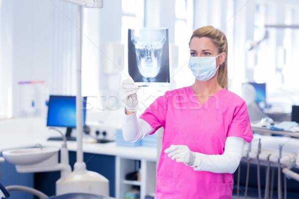 Dentista máscara cirúrgica olhando raio x dental clínica Foto stock © wavebreak_media