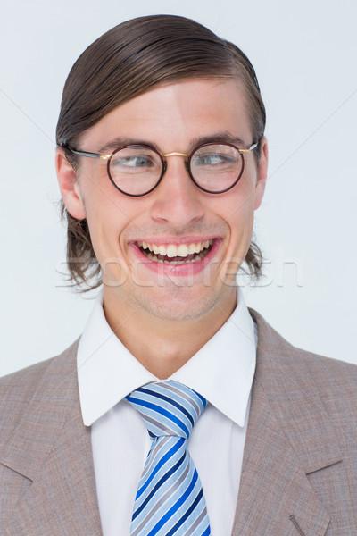 Komik işadamı beyaz iş mutlu kravat Stok fotoğraf © wavebreak_media