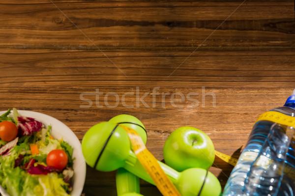 Mesa de madeira comida saúde tabela garrafa Foto stock © wavebreak_media