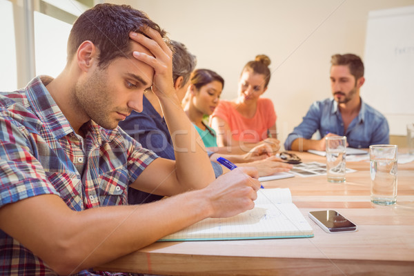 Endişeli gündelik işadamı dinleme konferans ofis Stok fotoğraf © wavebreak_media