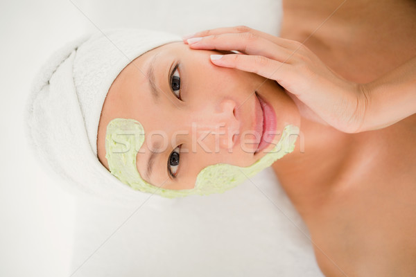 Portré gyönyörű barna hajú kezelés gyógyfürdő nő Stock fotó © wavebreak_media