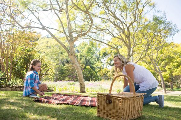 Mãe filha toalha de piquenique parque mulher menina Foto stock © wavebreak_media