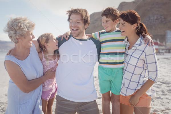 Happy multi-generated family at beach Stock photo © wavebreak_media