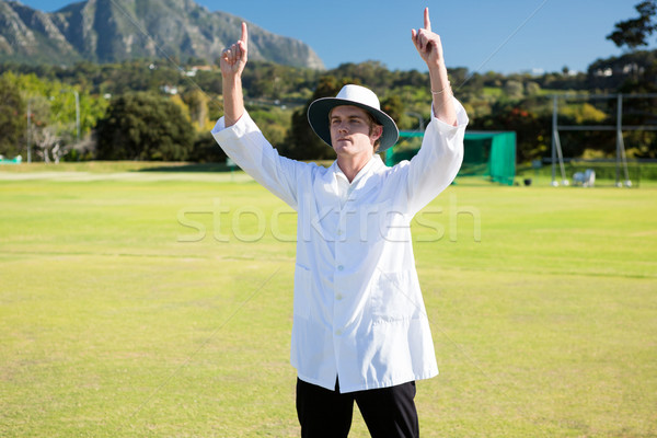 Low angle view of cricket umpire signalling six at match Stock photo © wavebreak_media