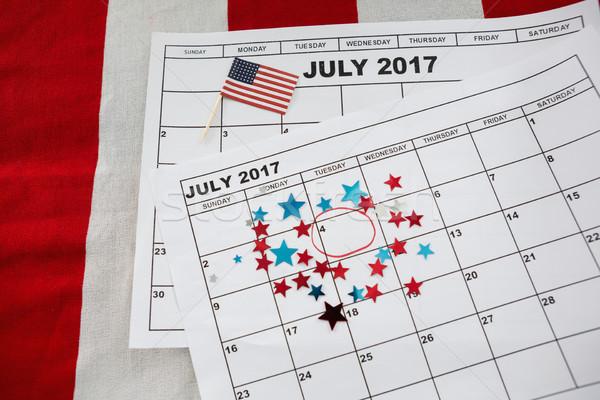 Naptár csillag forma dekoráció amerikai zászló háttér Stock fotó © wavebreak_media