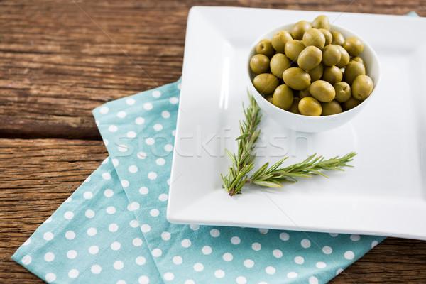 Gemarineerd olijven rosmarijn dienblad voedsel Stockfoto © wavebreak_media