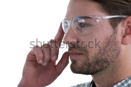 Közelkép üzletember kéz megérint láthatatlan interfész Stock fotó © wavebreak_media