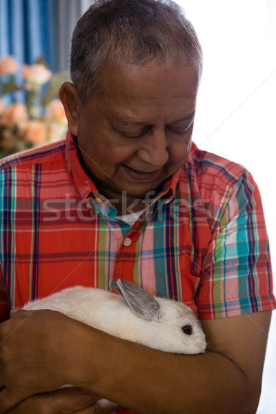 Senior man holding rabbit at retirement home Stock photo © wavebreak_media