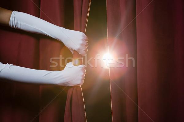 Strony biały rękawica kurtyny Zdjęcia stock © wavebreak_media