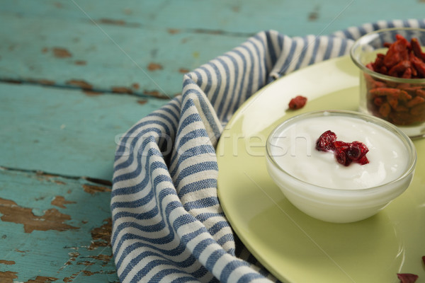 Datum palm yoghurt houten tafel tabel Stockfoto © wavebreak_media
