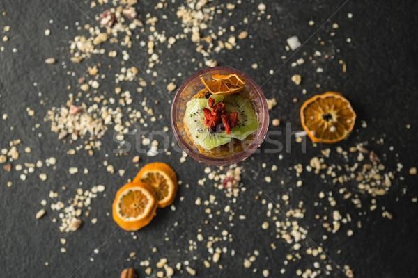 Secas frutas vidro preto café da manhã estilo de vida Foto stock © wavebreak_media