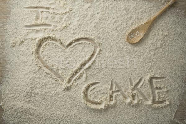 Vue amour gâteau texte farine Photo stock © wavebreak_media