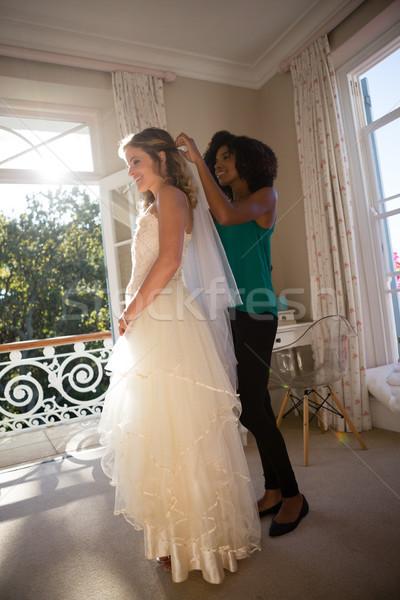 Velo sposa capelli home donna wedding Foto d'archivio © wavebreak_media