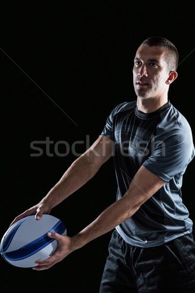 Koncentruje rugby gracz piłka Zdjęcia stock © wavebreak_media