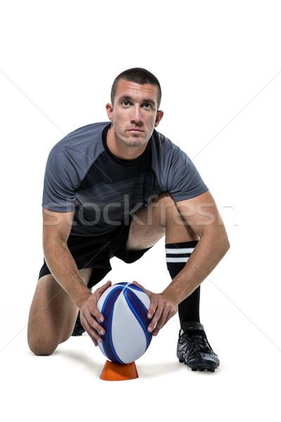 Retrato rugby jogador preto bola Foto stock © wavebreak_media