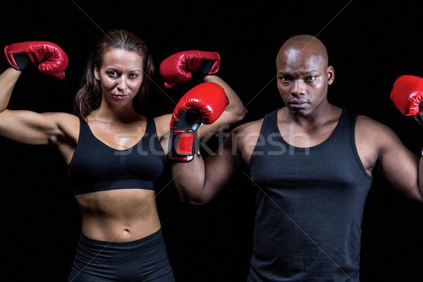Portré boxeralsó izmok fekete nő piros Stock fotó © wavebreak_media