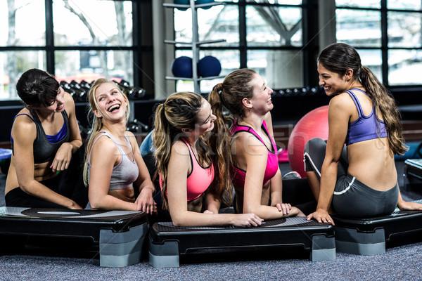 Csoport fitt nő mosolyog padló tornaterem nő Stock fotó © wavebreak_media