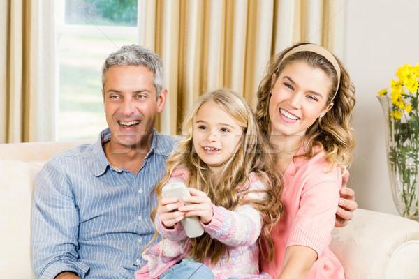 Famiglia felice telecomando home famiglia uomo bambino Foto d'archivio © wavebreak_media