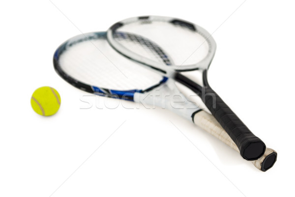 Tennis ball and rackets on white background Stock photo © wavebreak_media