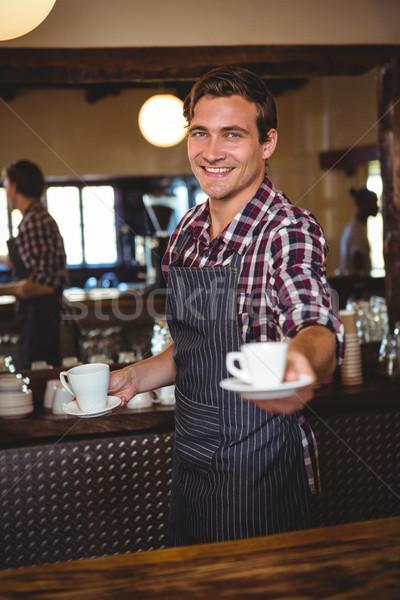 Pincér kávé étterem férfi kávézó szolgáltatás Stock fotó © wavebreak_media