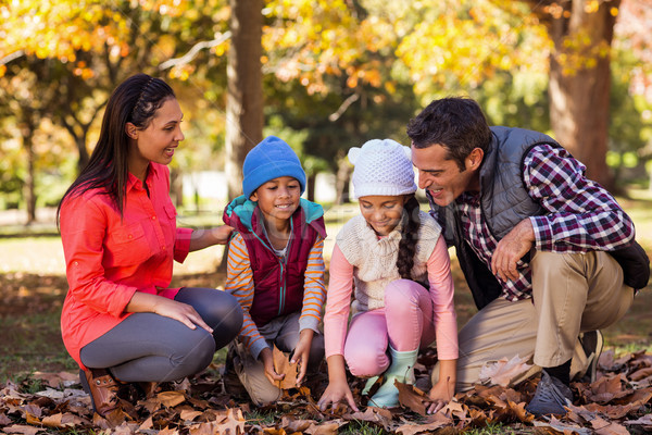 Happy family playing with autumn leaves Stock photo © wavebreak_media