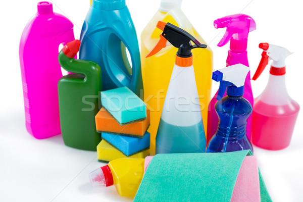 of cleaning liquid bottles and wipe pads Stock photo © wavebreak_media