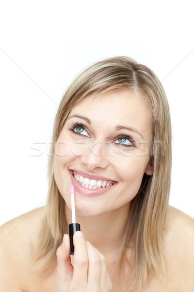 Gelukkig vrouw glans witte glimlach gezicht Stockfoto © wavebreak_media
