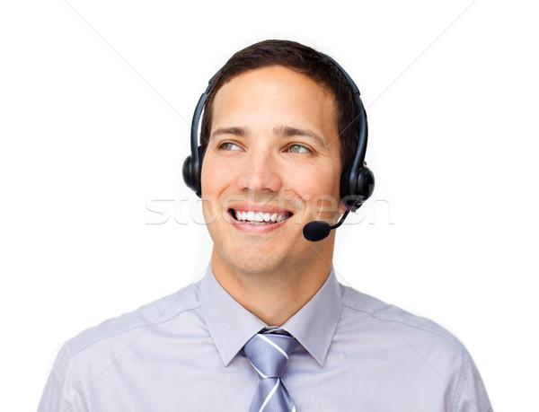 Jovem atendimento ao cliente agente fone branco negócio Foto stock © wavebreak_media