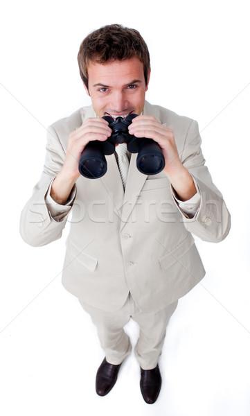 Sorridente empresário par binóculo branco homem Foto stock © wavebreak_media