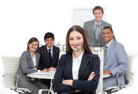 Tolakodó menedzser telefon csapat iroda üzlet Stock fotó © wavebreak_media
