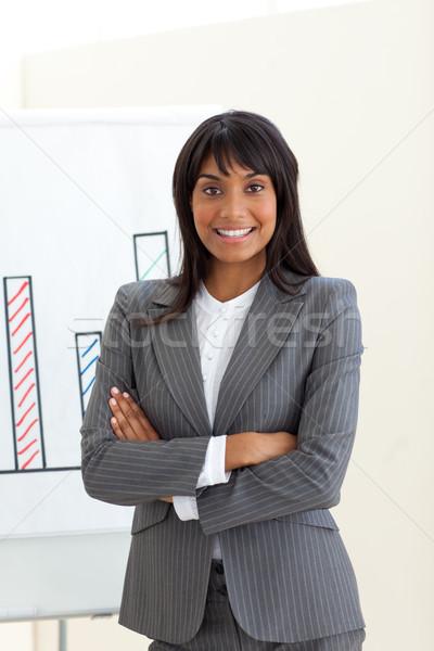 Etnische zakenvrouw gevouwen armen boord witte Stockfoto © wavebreak_media