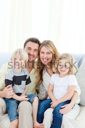 Család néz rögbi gyufa kanapé lány Stock fotó © wavebreak_media