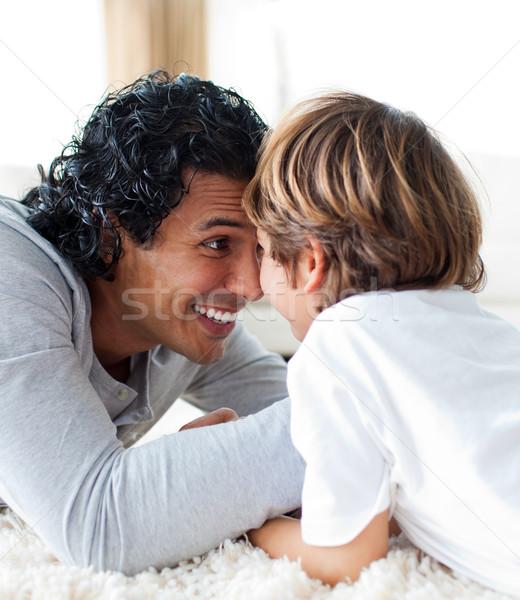 Szczęśliwy syn ojca dziecko zabawy salon ojciec Zdjęcia stock © wavebreak_media