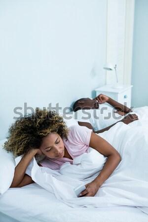 Kadın yatak genç yüz seksi moda Stok fotoğraf © wavebreak_media