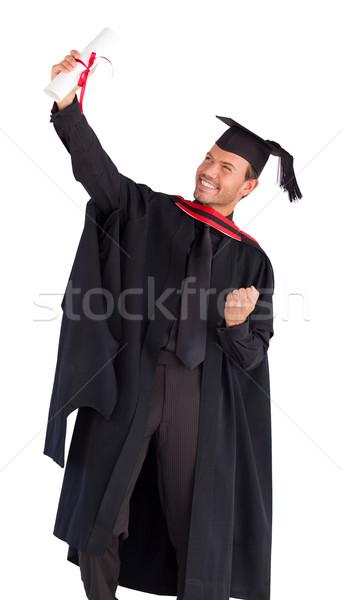 Stock fotó: Vidám · fiú · ünnepel · siker · érettségi · boldog · vonzó