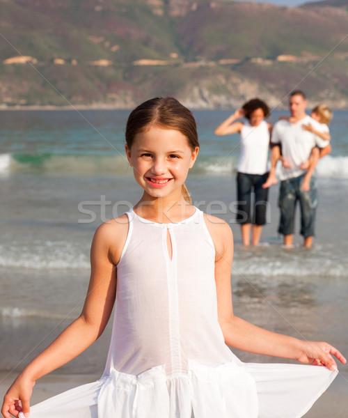 Bom menina praia pais irmão mulher Foto stock © wavebreak_media