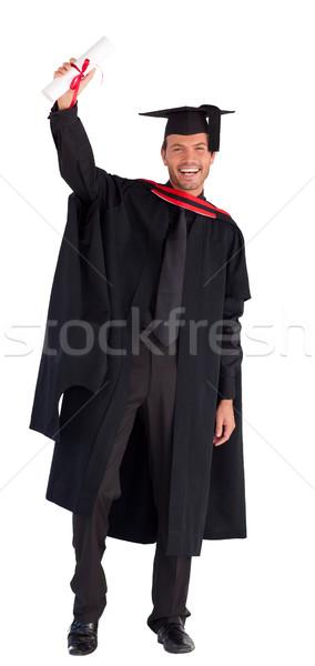 Stock fotó: Mosolyog · fiú · mutat · diploma · kamerába · jóképű