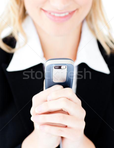 Közelkép kaukázusi üzletasszony küldés szöveg fehér Stock fotó © wavebreak_media