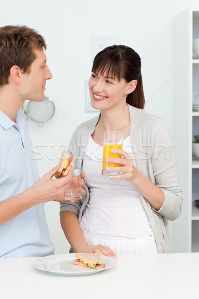 Amantes café da manhã juntos casal saúde cozinha Foto stock © wavebreak_media
