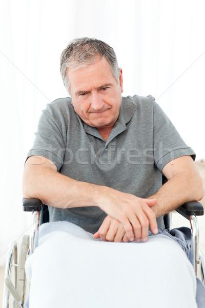 Emekli adam tekerlekli sandalye ev tıbbi sağlık Stok fotoğraf © wavebreak_media