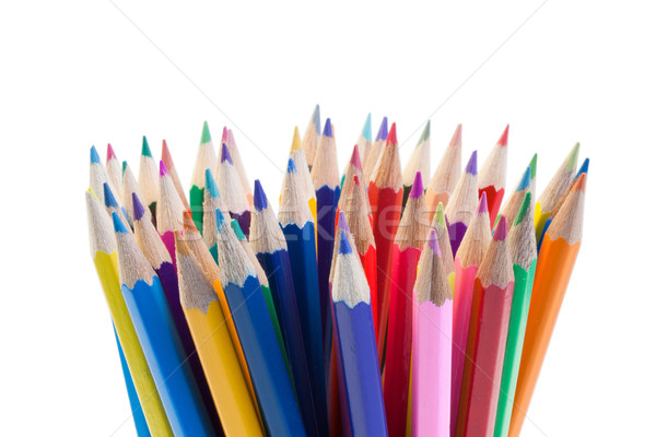 Color pencils gathering on a white background Stock photo © wavebreak_media