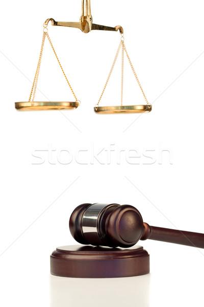 молоток масштаба правосудия белый знак Сток-фото © wavebreak_media