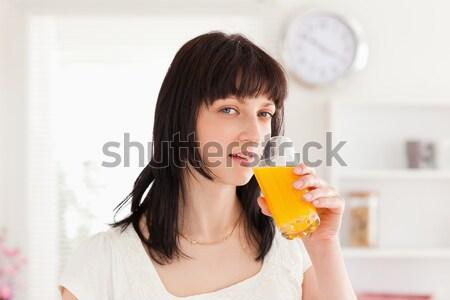 печально женщину апельсиновый сок носовой платок Жилье красоту Сток-фото © wavebreak_media