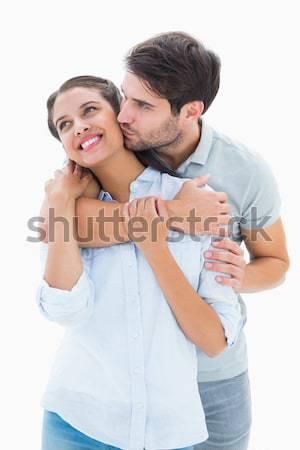 Marito offrendo collana moglie bianco sorriso Foto d'archivio © wavebreak_media