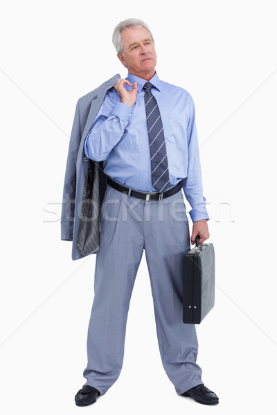 Dojrzały handlowiec walizkę kurtka ramię biały Zdjęcia stock © wavebreak_media