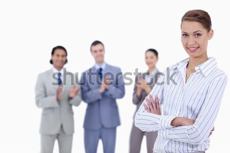 ストックフォト: クローズアップ · 女性 · 腕 · ビジネスの方々 · 拍手 · を見て