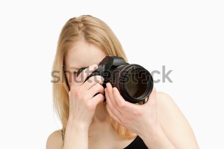 Vrouw fotografie reflex camera witte Stockfoto © wavebreak_media