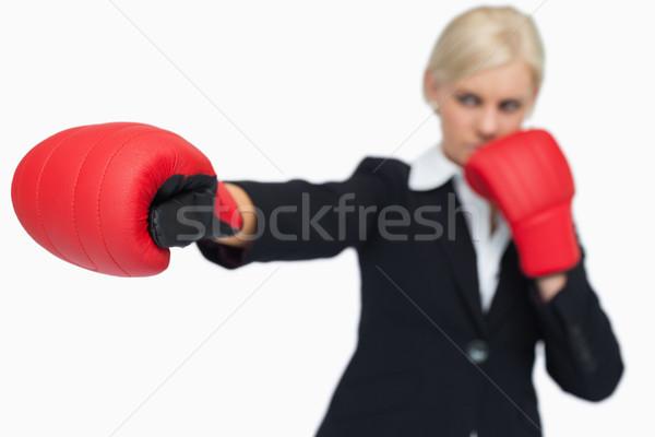 Kobieta interesu czerwony rękawice boks biały Zdjęcia stock © wavebreak_media